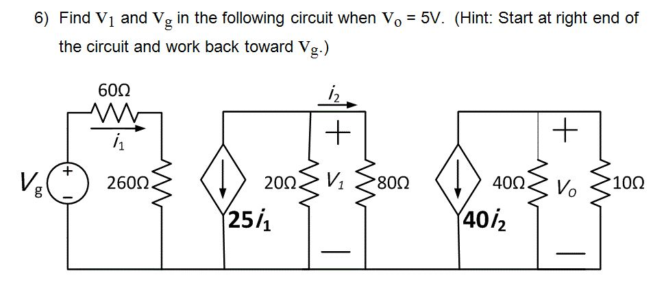 Find V1 and Vg in the following circuit when V0 =