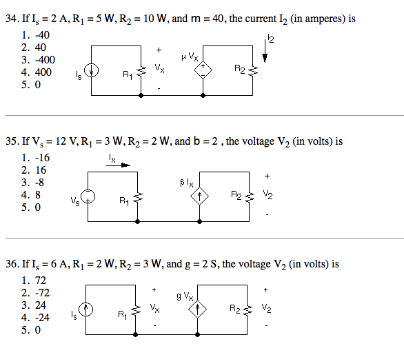 If Is = 2 A, R1 = 24 W, and R2 = 40 W, the Norton