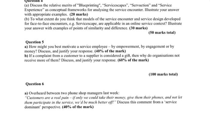 Solved Discuss The Relative Merits Of Blueprinting Serv