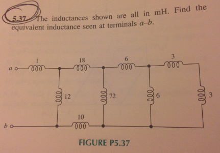 The inductance shown are all in mH. Find the equiv