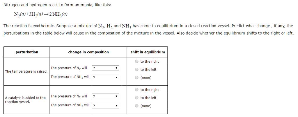 Nitrogen And Hydrogen React To Form Ammonia, Like ... | Chegg.com