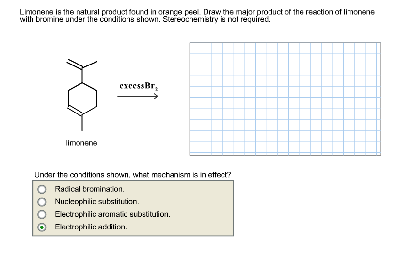Limonene is the natural product found in orange pe