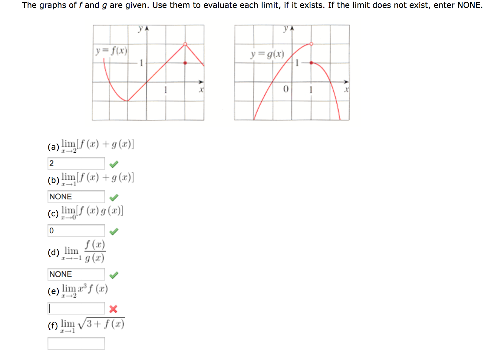 Image for The graphs of f and g are given. Use them to evaluate each