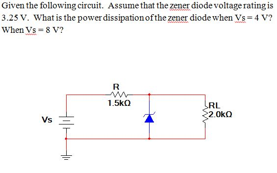 Given the following circuit. Assume that the zener