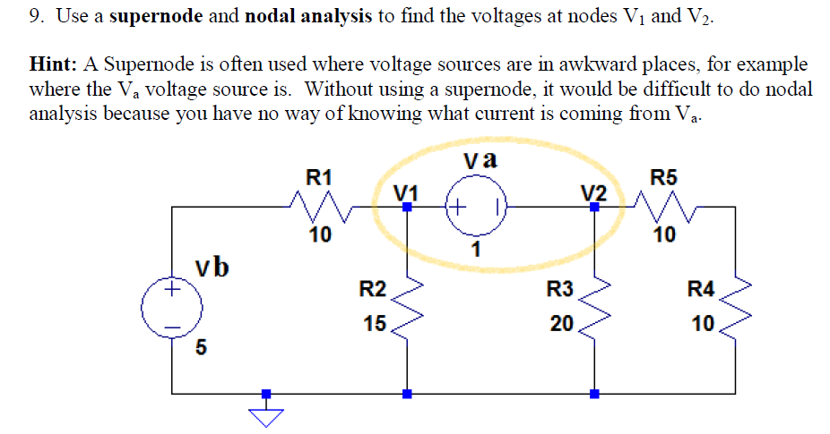 Use a supernode and nodal analysis to find the vol
