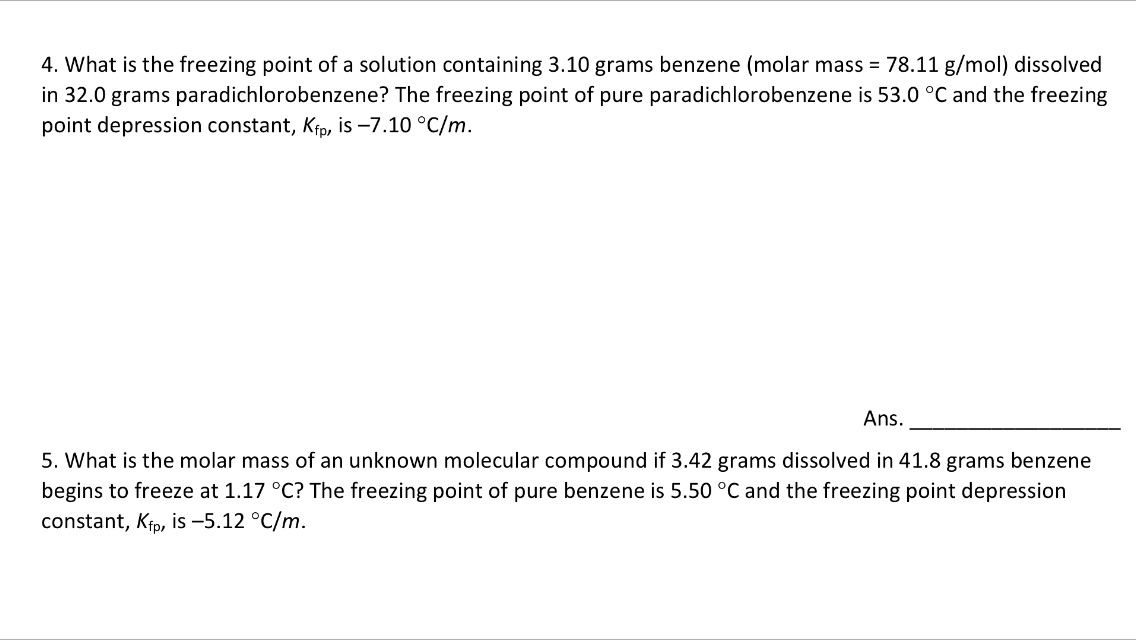4. What Is The Freezing Point Of A Solution Contai... | Chegg.com