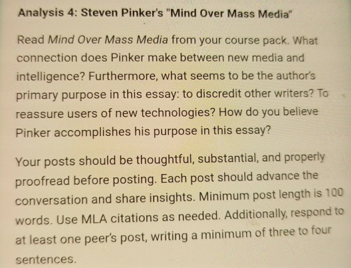 mind over mass media from your course pack w com analysis 4 steven pinkers mind over mass media mind over mass media from your