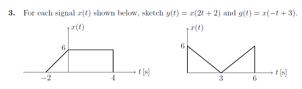 For each signal x(t) shown below, sketch y(t)=x(2t