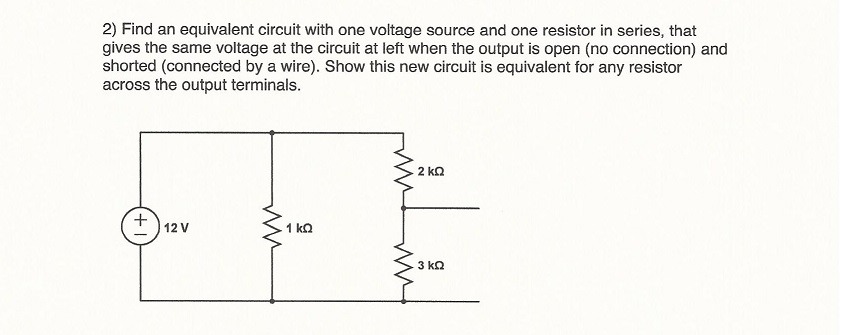 Find an equivalent circuit with one voltage source