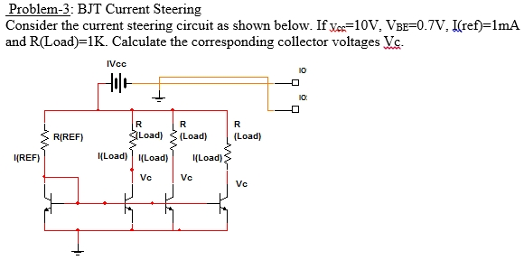 Consider the current steering circuit as shown bel