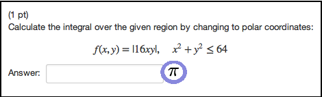 Calculate the integral over the given region by ch