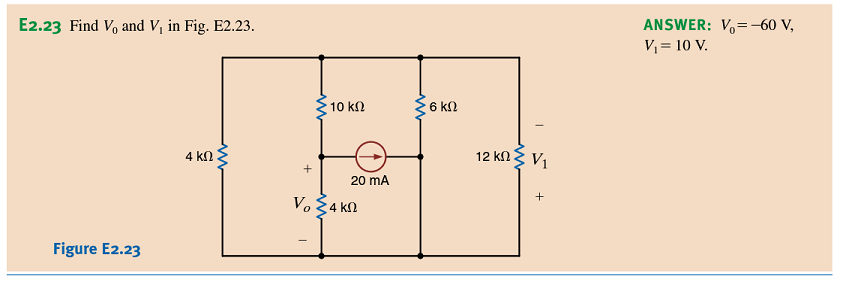 Find V0 and V1, in Fig. E2.23. ANSWER: V0=-60V,