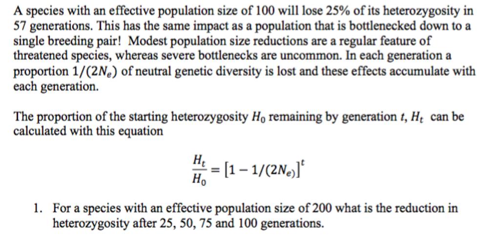 The Proportion Of The Starting Heterozygosity Ho R...   Chegg.com
