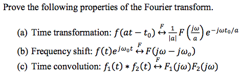 Prove the following properties of the Fourier tran