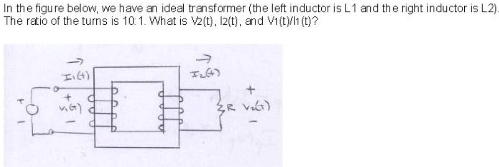 In the figure below, we have an ideal transformer