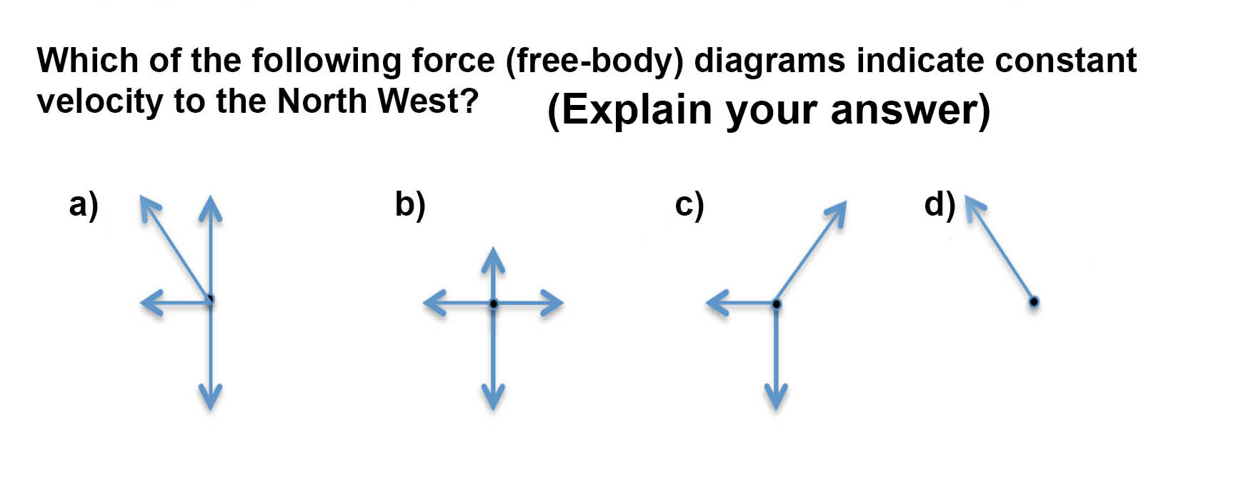 Solved which of the following force free body diagrams question which of the following force free body diagrams indicate constant velocity to the north west pooptronica