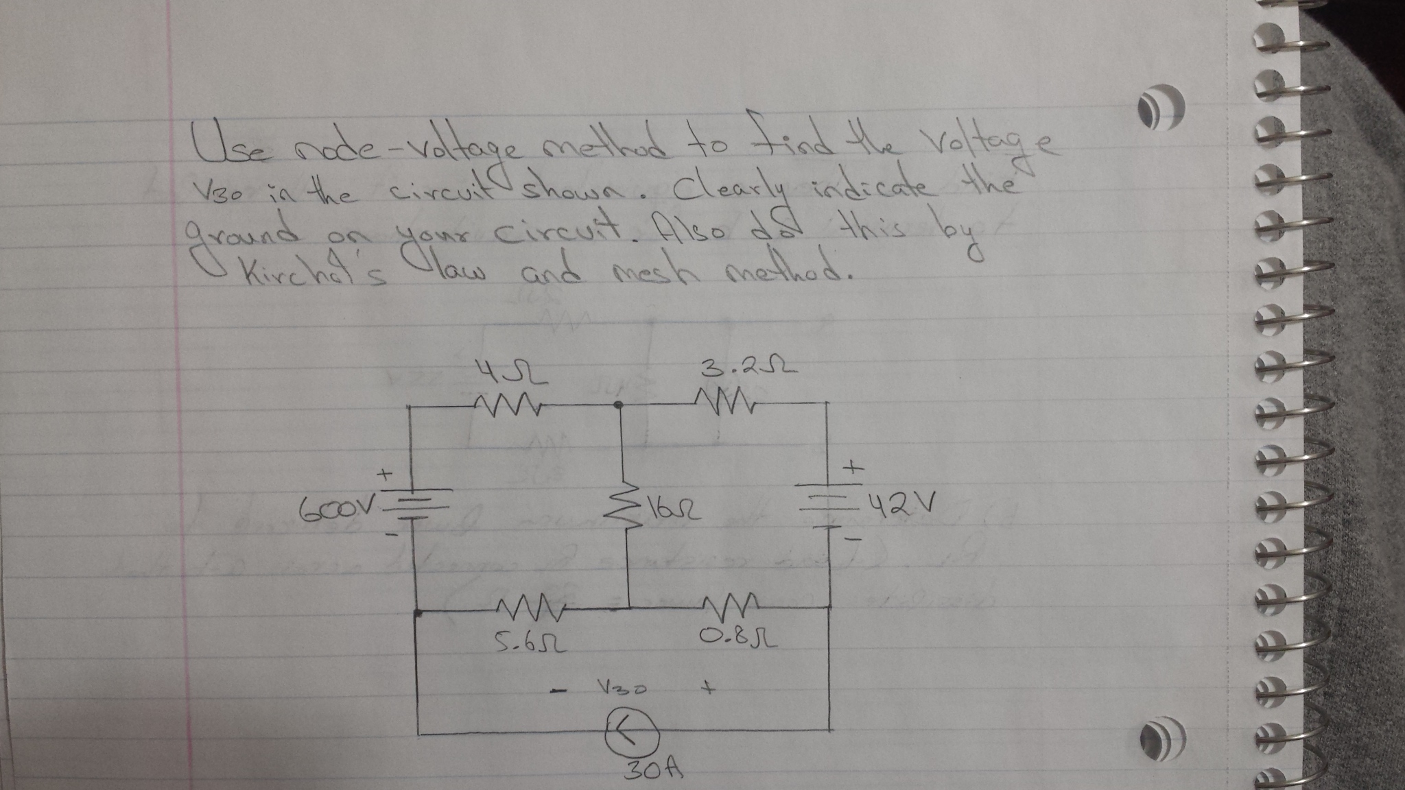 Use node - voltage method to find the voltage V30