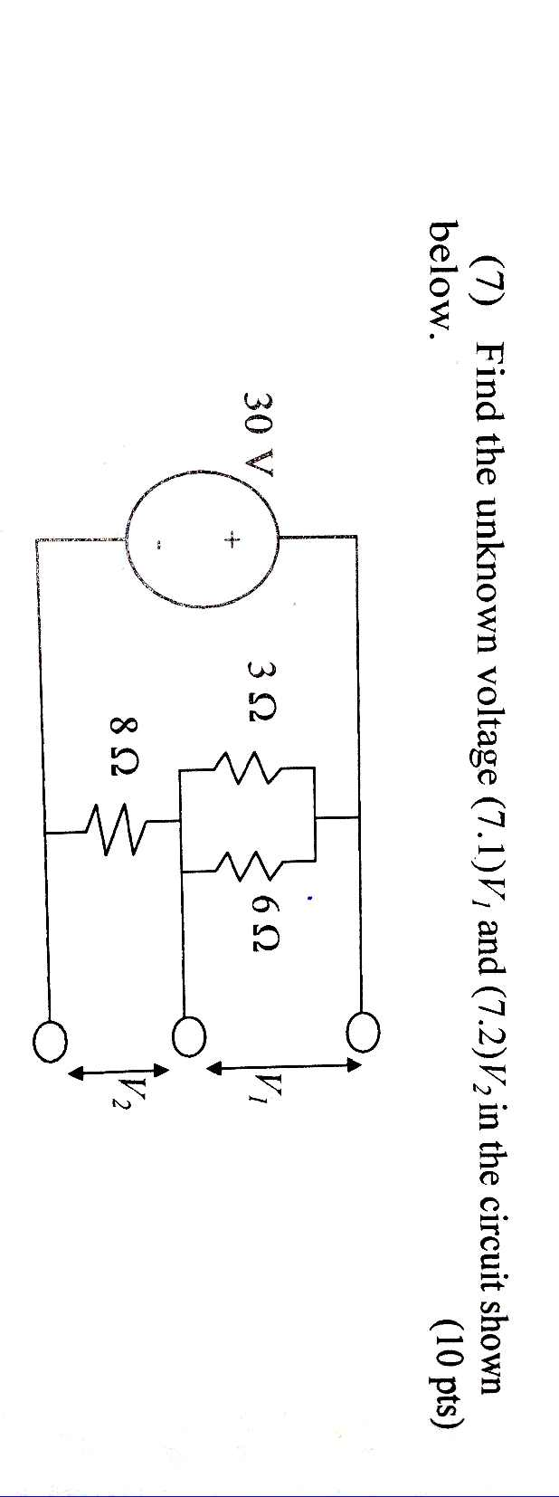 Find the unknown voltage (1 .1)V1 and (7.2)V2 in t