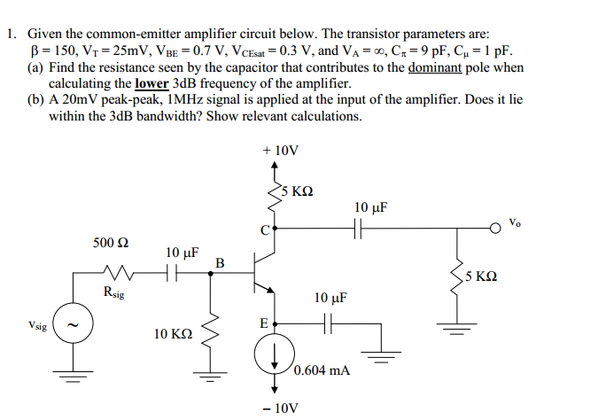 Given the common-emitter amplifier circuit below.