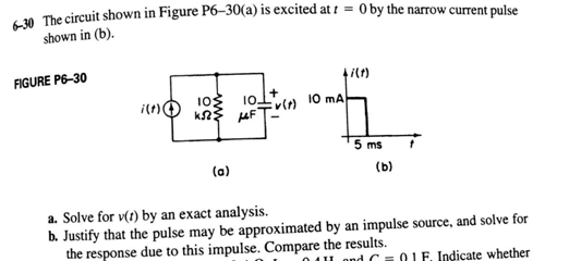 The circuit shown in Figure P6-30(a) is excited a