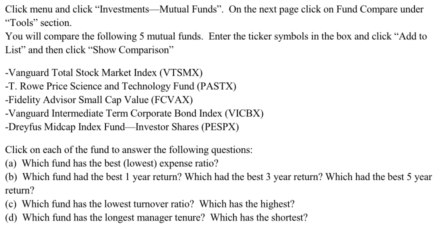 Solved Click Menu And Click Investments Mutual Funds O