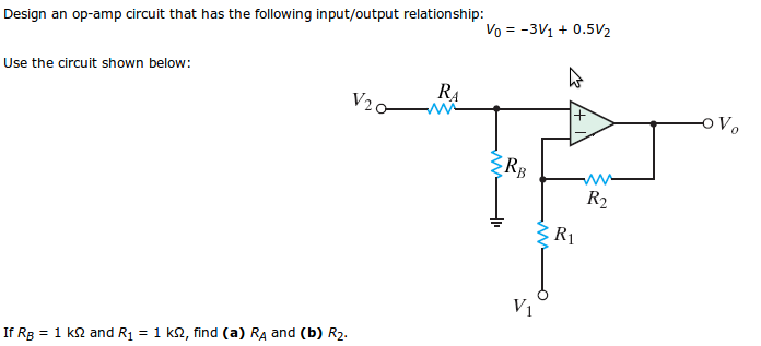 Design an op-amp circuit that has the following in