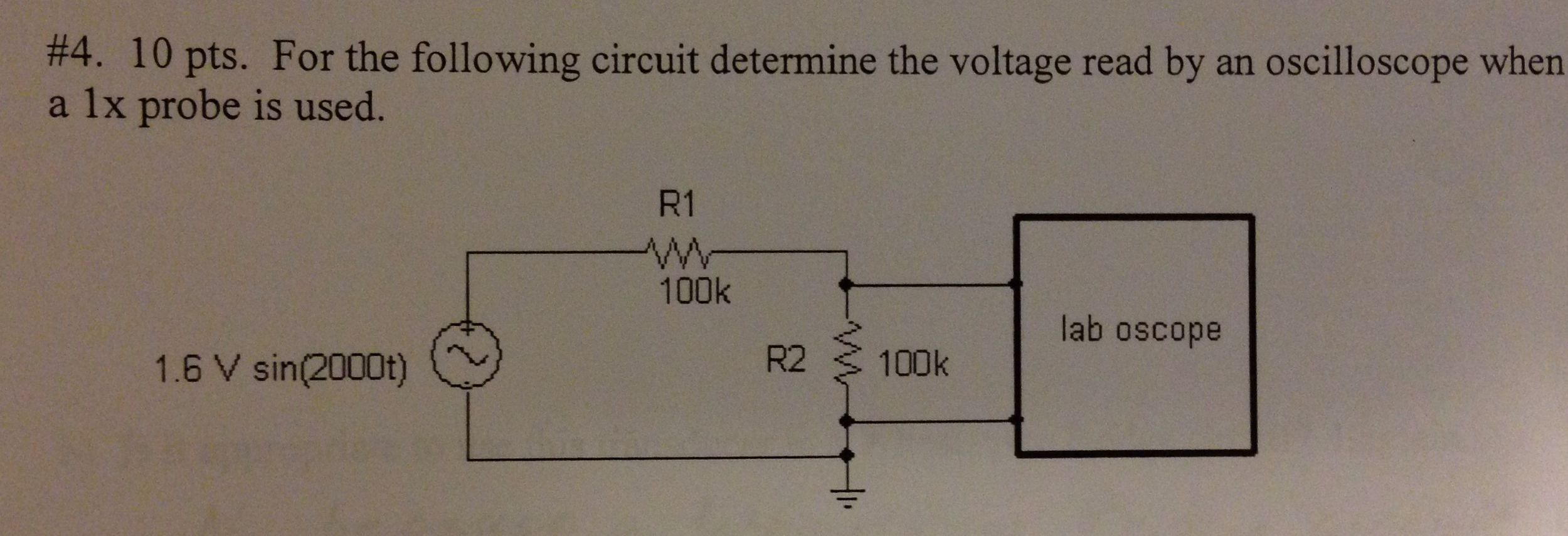 For the following circuit determine the voltage re