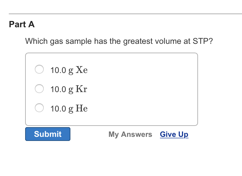 Which Gas Sample Has The Greatest Volume At STP? 1...   Chegg.com