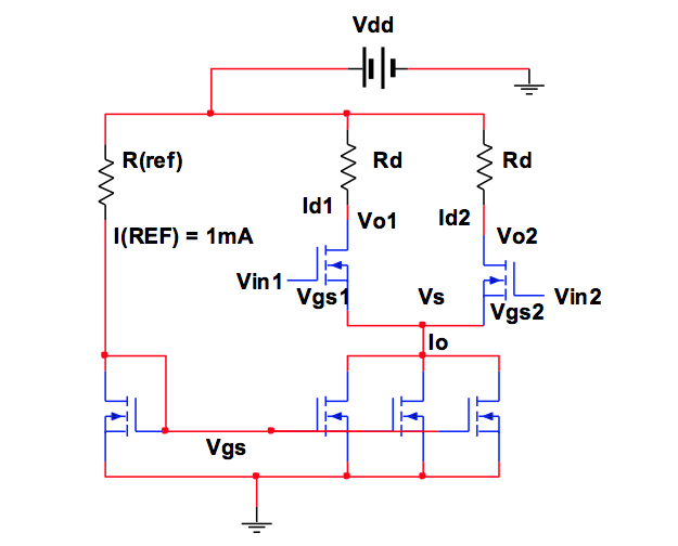 Consider the NMOS differential amplifier as shown