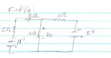 Find VA in the circuit below using superposition.