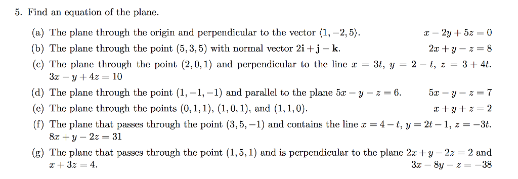 perpendicular planes equation. find an equation of the plane. (a) plane through perpendicular planes