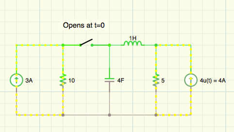 Supposed to find v(t) across capacitor, t>0. I