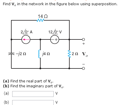 Find Vo in the network in the figure below using s