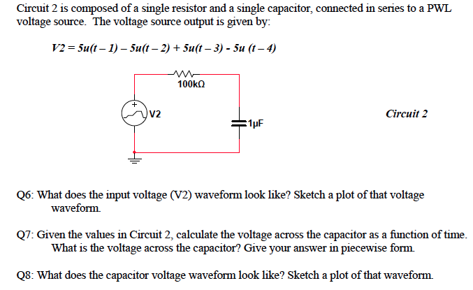 Circuit 2 is composed of a single resistor and a s