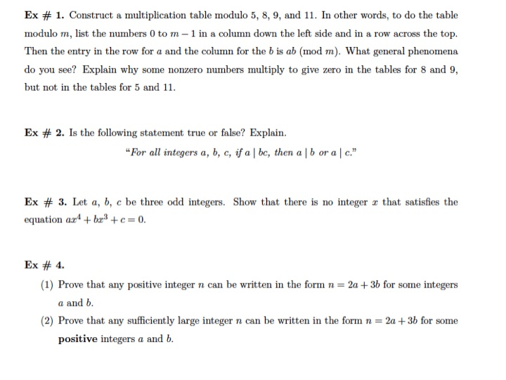 Construct A Multiplication Table Modulo 5, 8, 9, A... | Chegg.com