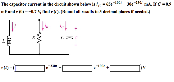 The capacitor current in the circuit shown below i