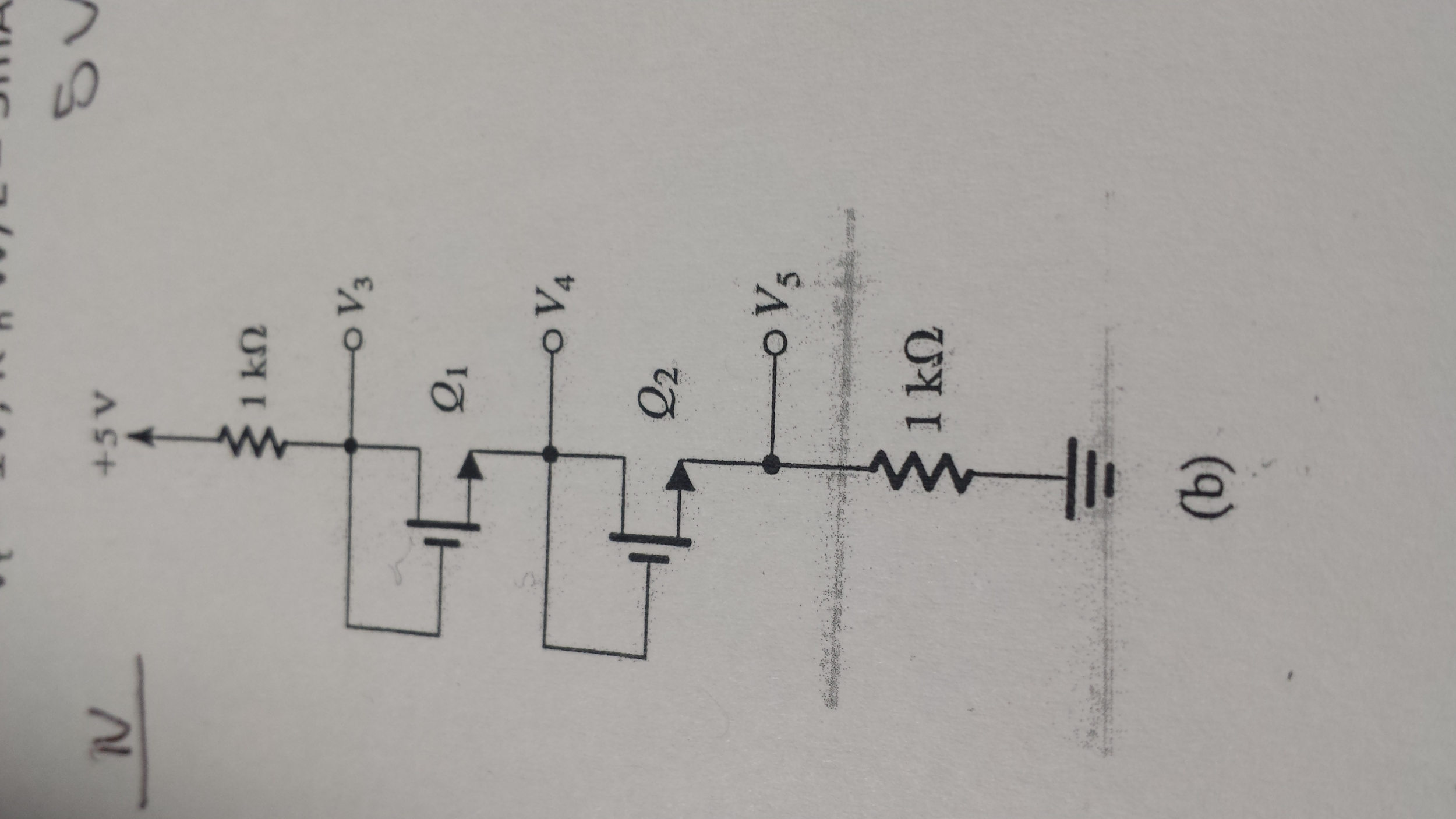 For the circuit below find the voltages V3, V4, V5