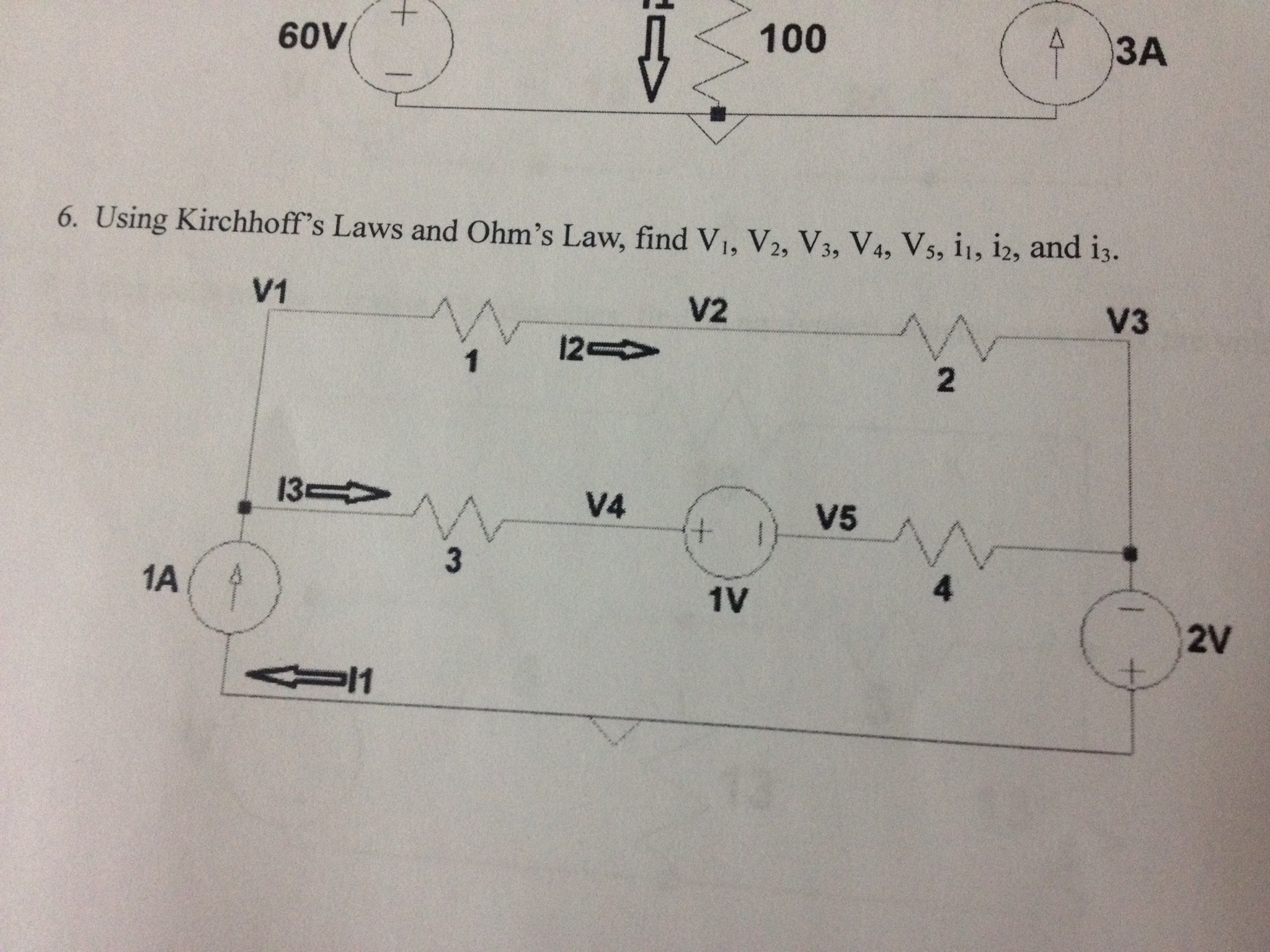 Using Kirchhoff's Laws and Ohm's Law, find V1, V2,