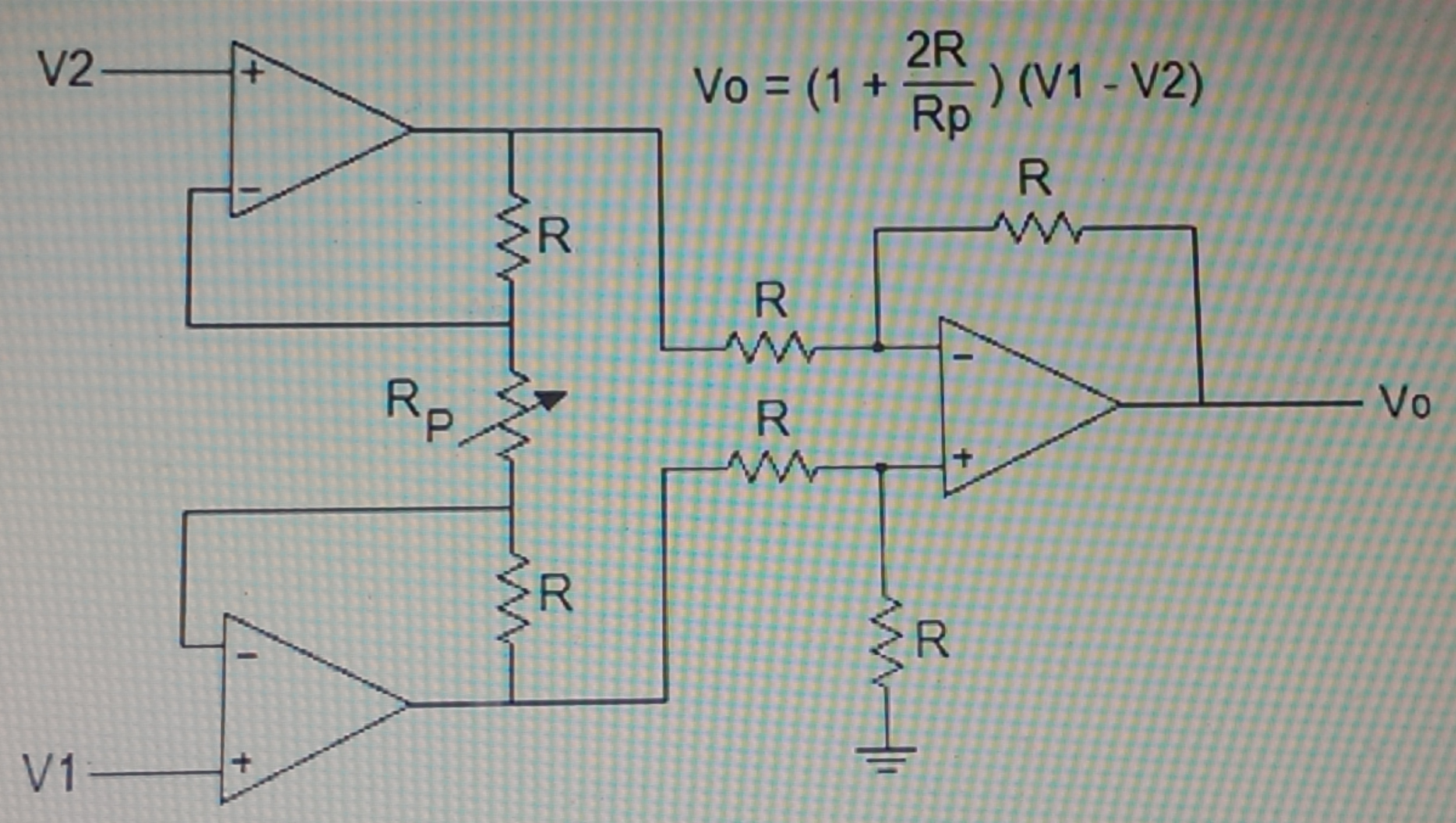 In the instrumentation amplifier shown below, R