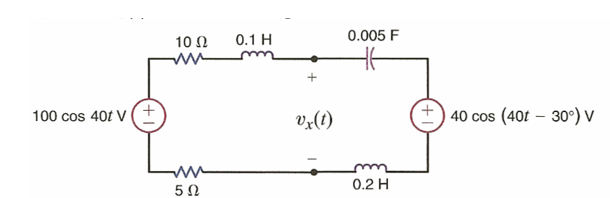 Find vx(t) in the following circuit.