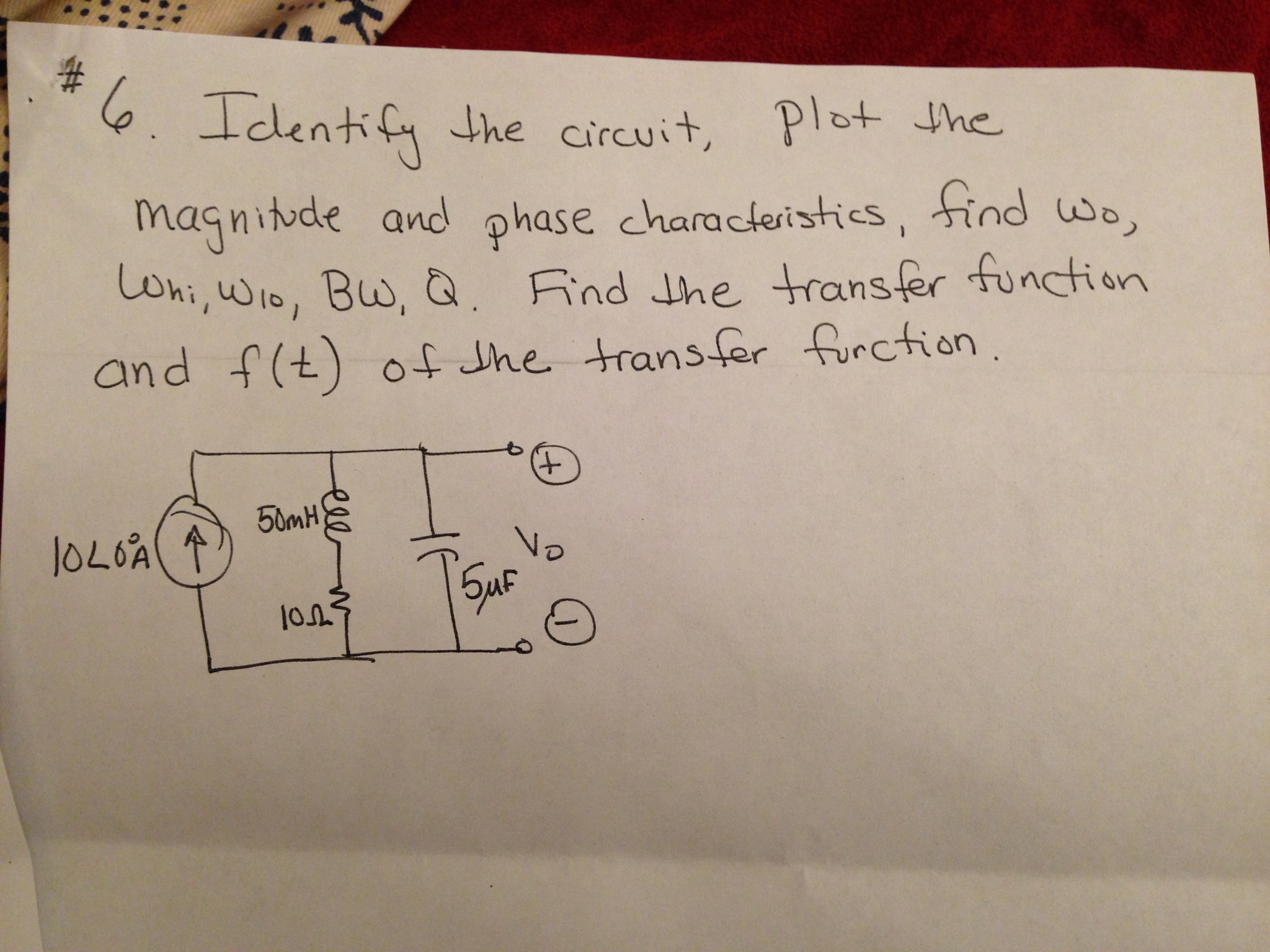 Identify the circuit, plot the magnitude and phase