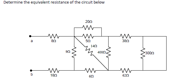 Determine the equivalent resistance of the circuit