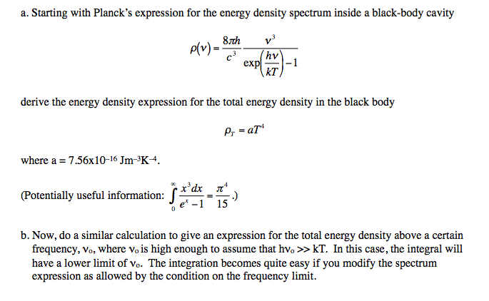 Starling with Planck's expression for the energy