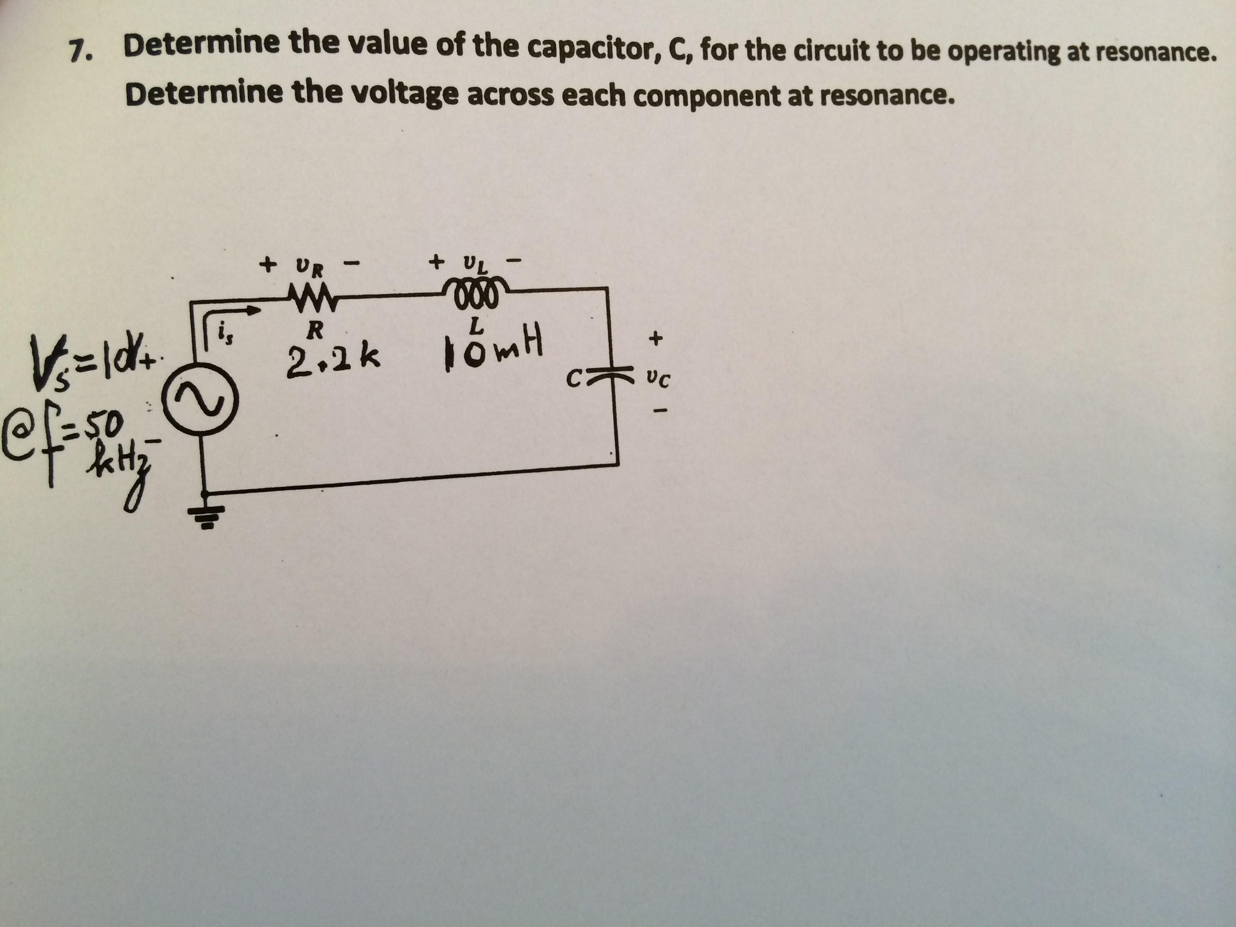 Determine the value of the capacitor, C, for the c