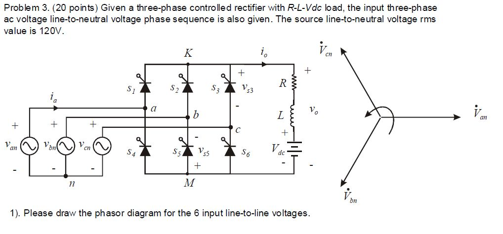 Given a three-phase controlled rectifier with R-L-