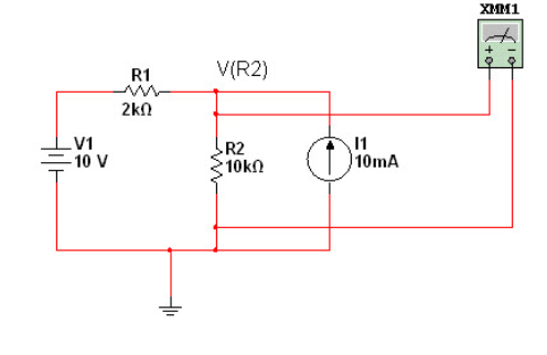 Using superposition, find the voltage VR2 fo