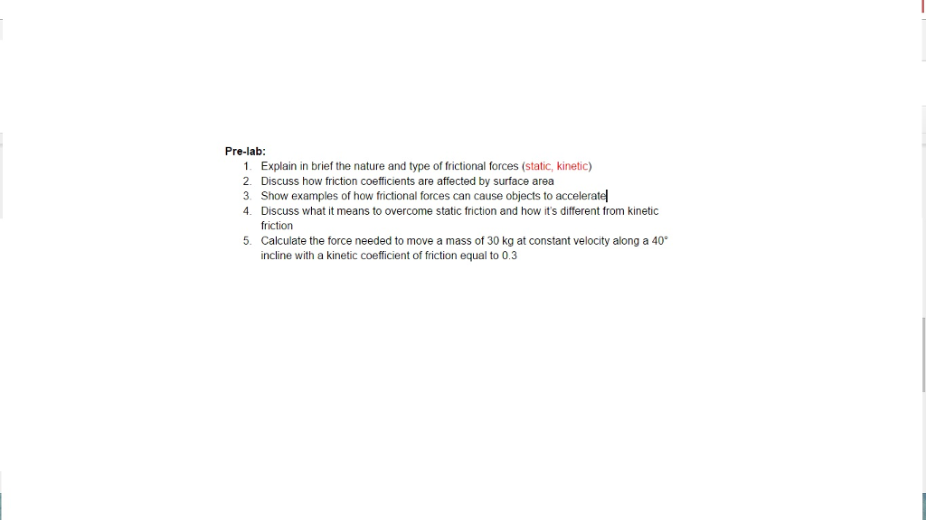 Kinetic friction worksheet pdf