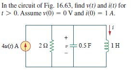 In the circuit of Fig. 16.63. find v(t) and i(t) f