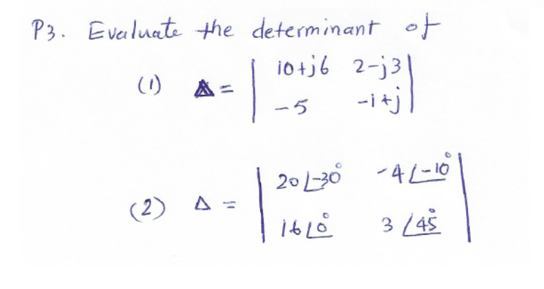 Evaluate the determinant of
