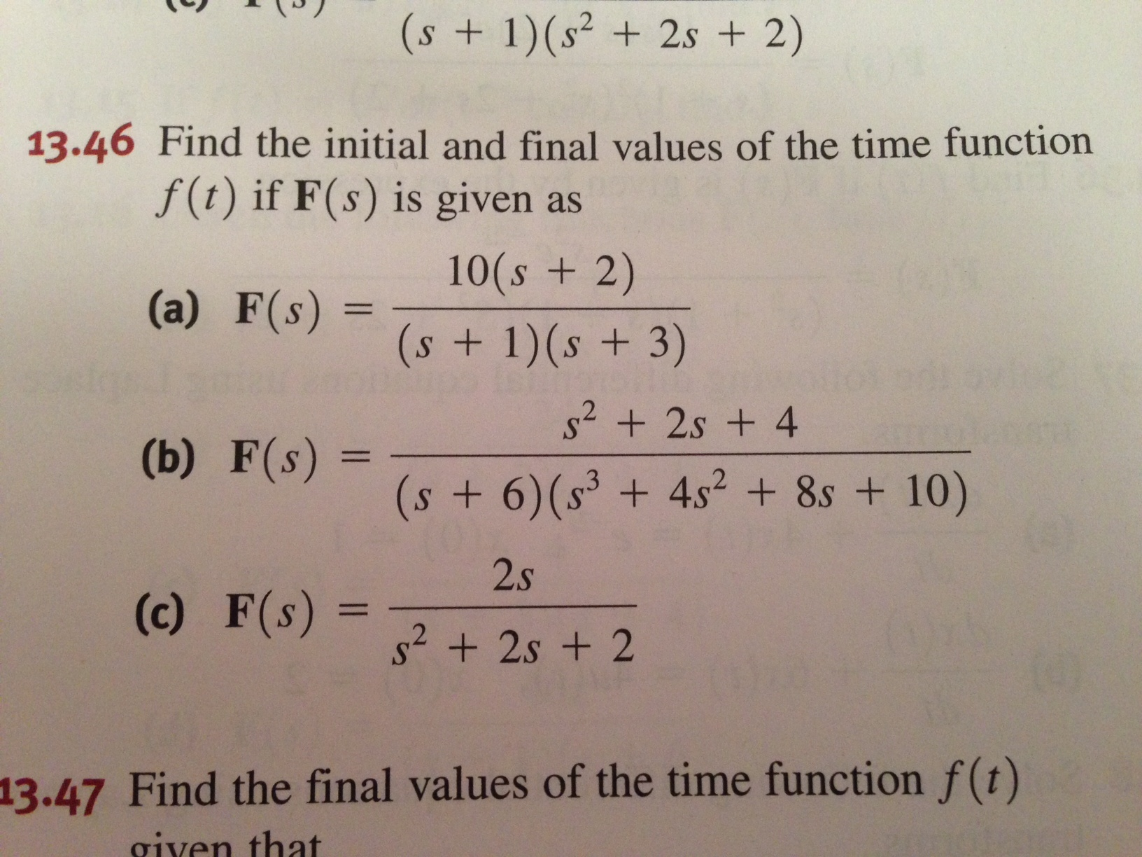 Find the initial and final values of the time func
